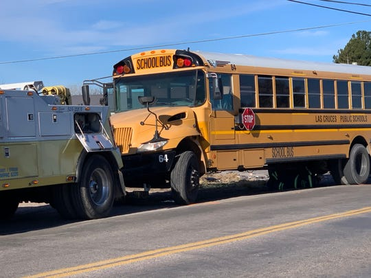 A Las Cruces school bus and pickup truck (not pictured) collided Wednesday Dec. 18, 2019, near the intersection of Doña Ana Road and East Taylor Road.