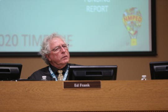 Outgoing school board president Ed Frank during Tuesday's school board meeting, Dec. 17, 2019.