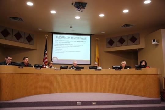 Las Cruces School Board members at Tuesday's school board meeting, Dec. 17.