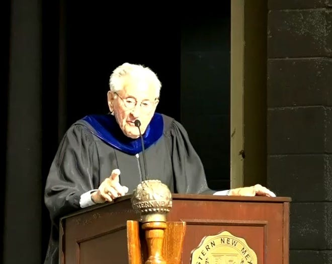 In this still from a video clip, Jim Smith gives the commencement address Friday, Dec. 13, 2019, at Western New Mexico University
