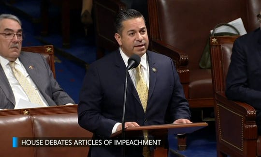 """New Mexico Rep. Ben Ray Luján on Dec. 18 speaks briefly in the U.S. House of Representatives chamber during debate on articles of impeachment for U.S. President Donald J. Trump. Lujan said he would support the """"rule of law"""" during the proceedings and vote in favor of impeachment."""