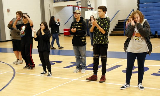 Carlsbad High students work on their Cha Cha slide dance steps during a PE class on Dec. 18, 2019. The final two weeks of PE classes in December focus on dancing to give the students a chance for indoor exercise during the Christmas break.