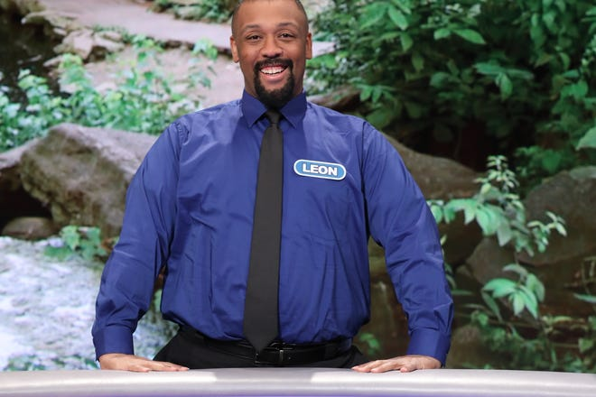 "Westland resident Leon Wilborn on the set of ""Wheel of Fortune."""