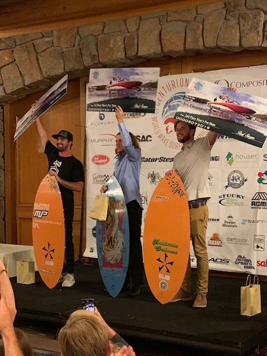 Detroit Catholic Central grad Nick Parros (right) placed second in the world at the wake surfing championships in Utah.