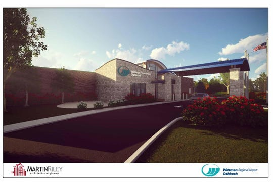 Artist's rendering of what the remodeled terminal is expected to look like at Wittman Regional Airport.