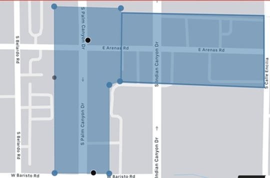 New Uber, Lyft pick-up spots designated in downtown Palm Springs on monterey downtown map, lompoc downtown map, lexington downtown map, henderson downtown map, riverside downtown map, fresno downtown map, san bernardino downtown map, west virginia downtown map, bakersfield downtown map, santa ana downtown map, buena park downtown map, city of palm desert map, south lake tahoe downtown map, west palm beach florida city map, baltimore downtown map, pleasanton downtown restaurant map, stockton downtown map, temecula downtown map, laguna beach downtown map,