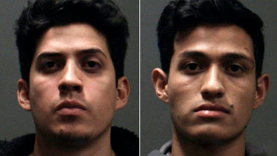 This undated booking photo provided by the Chino Police Department shows two brothers, Rony Castaneda Ramirez, left, and Josue Castaneda Ramirez who were arrested after allegedly fatally beating a man  Sunday, Dec. 15, 2019 at the reception of his wedding in Chino, Calif. The Southern California man was fatally beaten after his weekend wedding and the two brothers who crashed the reception were arrested, authorities said.