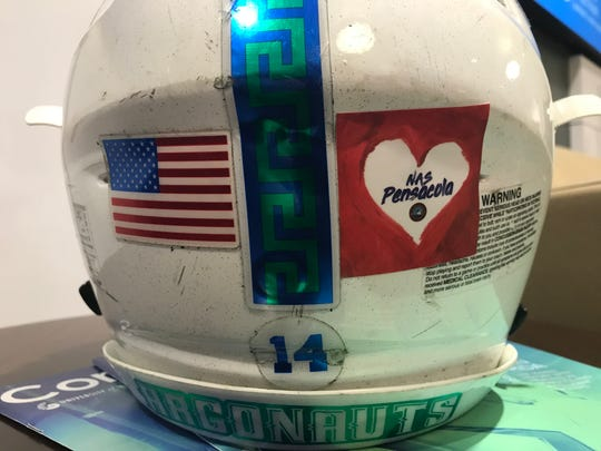 University of West Florida Argonaut players will wear an NAS Pensacola heart sticker on their helmets in Saturday's Division II National Championship game in remembrance of the Dec. 6 NAS Pensacola shooting victims.