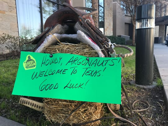 Signs greet the UWF football team upon its arrival at the team hotel in McKinney, Texas on Dec. 18, 2019.