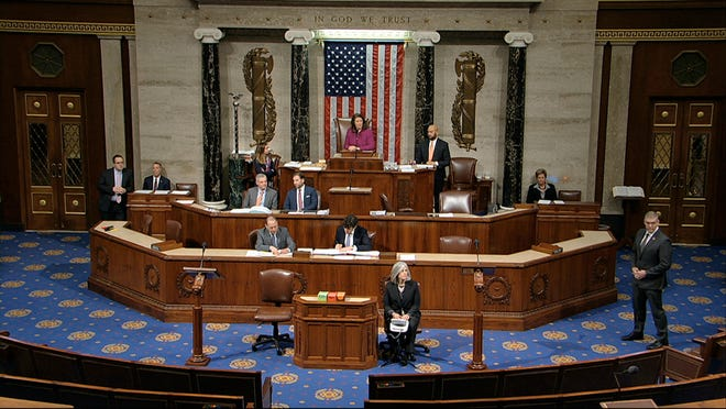 Debate continues on the floor of the House of Representatives on the articles of impeachment against President Donald Trump at the Capitol in Washington, Wednesday, Dec. 18, 2019.