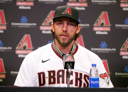 Madison Bumgarner answers questions during a news conference at Chase Field December 17, 2019. Bumgarner signed a five-year deal with the Arizona Diamondbacks.