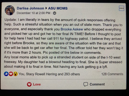 When Darlisa Johnson's daughter was stranded on the side of the I-10 on her way a final, she asked for help on the ASU Moms Facebook page.