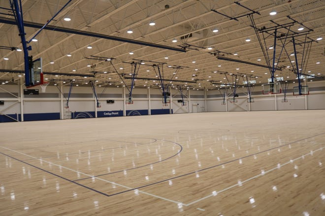 The Cedar Point Sports Center's main court area includes a total of 78,000 square feet of unobstructed maple wood flooring housing up to nine concurrent basketball courts, or up to 18 volleyball courts.