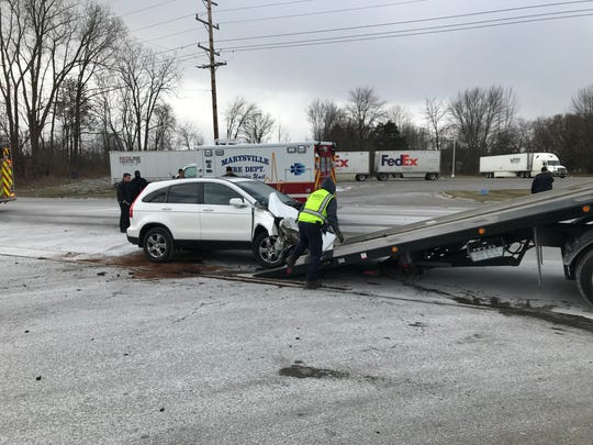 Police said no injuries were reported in a crash on Range Road near the Marysville Meijer Wednesday afternoon.