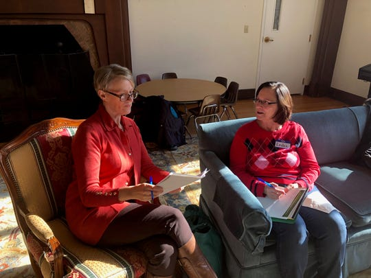 """Ellie Savoy, left, talks with Leslee Bowman, one of the participants in a Nov. 16 workshop she held in Millbrook called, """"Change Your Relationship with Sugar ... the Right Way."""""""