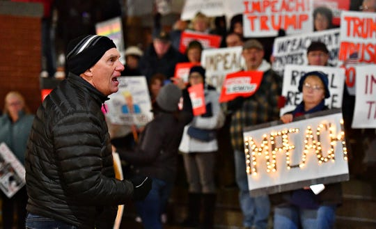 "Robert Steenstra, of East Berlin in Adams County, recites Abraham Lincoln's Gettysburg Address during the Nobody is Above the Law Rally in York City, Tuesday, Dec. 17, 2019. ""I am a Christian and I used to vote Republican most of the time,"" said Steenstra. ""But he concerns me,"" he added, referring to President Trump. Dawn J. Sagert photo"