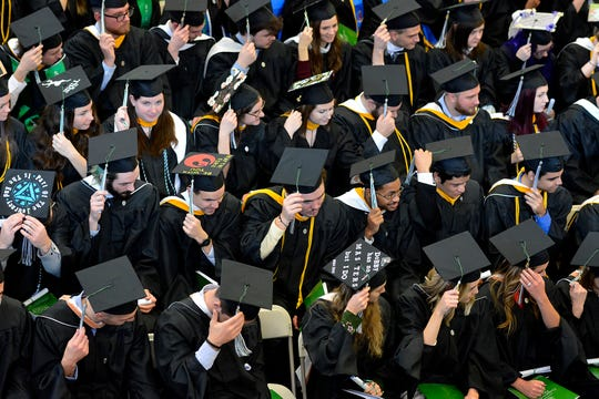 Nearly 300 students receive their degrees during the York College Winter Commencement, Wednesday, December 18, 2019. John A. Pavoncello photo
