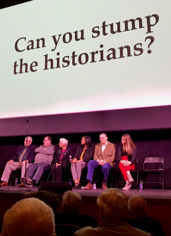 "A fun part of history night is the ""Stump the Historians"" segment, a time in which the audience can ask those on stage burning questions about York County's past. Participating, from left, Scott Mingus, Jeri Jones, June Burk Lloyd, Samantha Dorm, Stephen H. Smith and Jamie Kinsley. Joan Concilio could not attend the event. Her presentation, plus those of other presenters, are available on ydr.com."