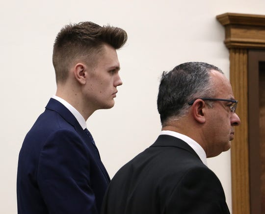 Defendant Alec Donovan, left, listens to the judge during his sentencing hearing at the Second Judicial District Court in Reno on Dec. 18, 2019.