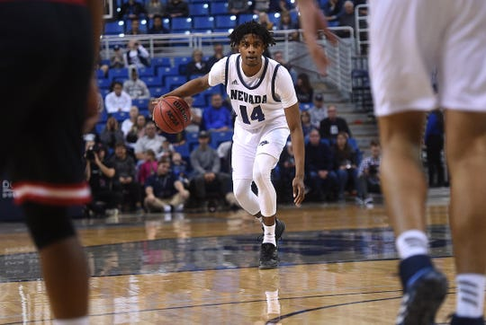 Nevada's Lindsey Drew brings the ball up court while taking on Cal State East Bay during their basketball game at Lawlor Events Center in Reno on Oct. 19, 2019.  Nevada hosts Texas Southern on Wednesday.