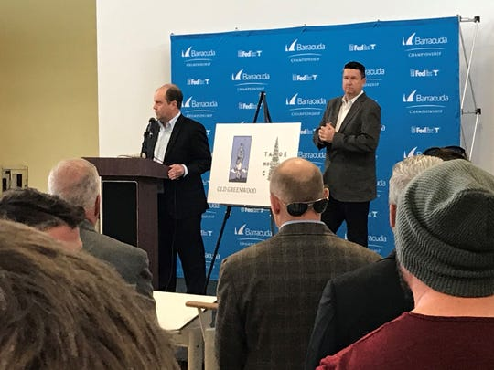 Barracuda tournament director Chris Hoff speaks at Wednesday's announcement that the PGA Tour stop is moving to Old Greenwood near Truckee. two-time tournament winner J.J. Henry is behind Hoff.