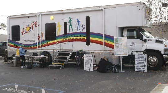 The Project HOPE van is parked next to the Empire Recovery Room on California Street in Redding on Wednesdays. The van's staff from the Shasta Community Health Center offers services to people who need medical care, including homeless. The van has exam rooms for medical and dental treatment with nursing and intake areas.
