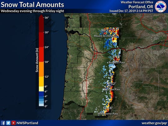 Snow totals across western Oregon mountains.