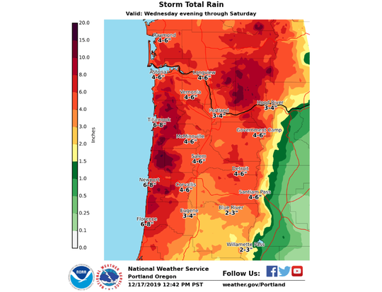 This map shows projected totals of rain hitting Northwest Oregon.