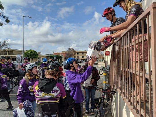 The Salinas High Mountain Bike Team delivered blankets Wednesday morning.
