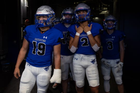 Richland Springs players look out on to the field as they wait for the start of the state championship game against Motley County at AT&T Stadium in Arlington on Wednesday, Dec. 18, 2019.