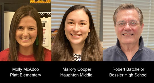 Bossier Parish Teachers of the Year, Molly McAdoo, Mallory Cooper and Robert Batchelor
