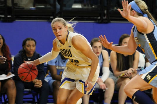Sydney Stapleton approaches the basket during Tuesday's game against Marquette at Frost Arena.