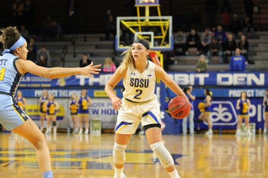 Rylie Cascio Jensen looks to pass Tuesday against Marquette.