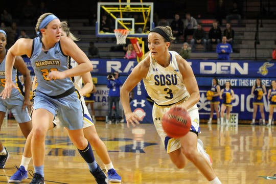 Lindsey Theuninck dribbles up the floor during Tuesday's loss to Marquette at Frost Arena