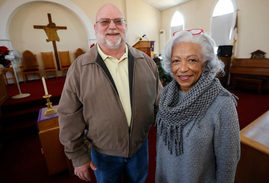 Rev. Jack Cormack, left, and Ferba Lofton inside of Gibson Chapel, an historic black church, which was built in 1891.