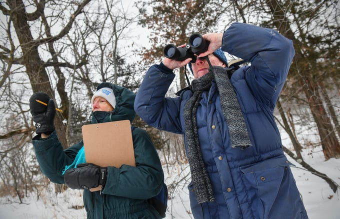 Volunteers Mary and Don Leaon look for birds high in the treetops during the Christmas Bird Count Wednesday, Dec. 18, 2019, at the Sherburne National Wildlife Refuge.