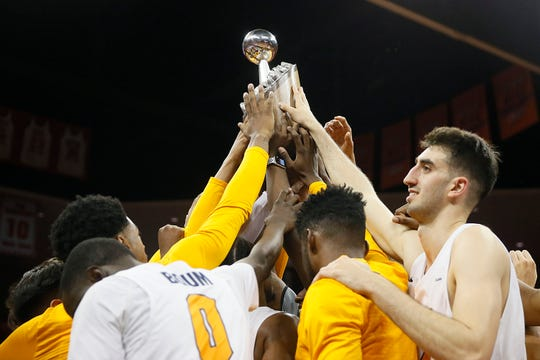 UTEP celebrates their win against University of California Irvine Tuesday, Dec. 17, in the 58th Annual Weststar Bank Don Haskins Sun Bowl Invitational in El Paso.