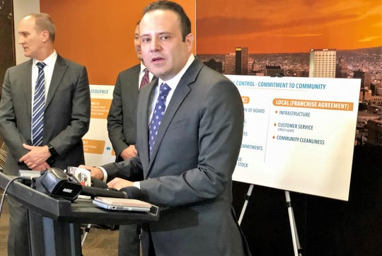 El Paso Electric Interim CEO Adrian Rodriguez talks about the Texas settlement agreement in the pending sale of the utility at a Dec. 17 press conference at El Paso City Hall.