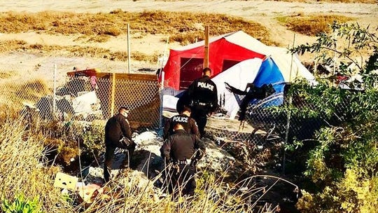 Oxnard police officers responded Tuesday to the vegetation fire at Ormond Beach and assisted the Oxnard Fire Department traffic control and the evacuation of homeless people camping in the area.