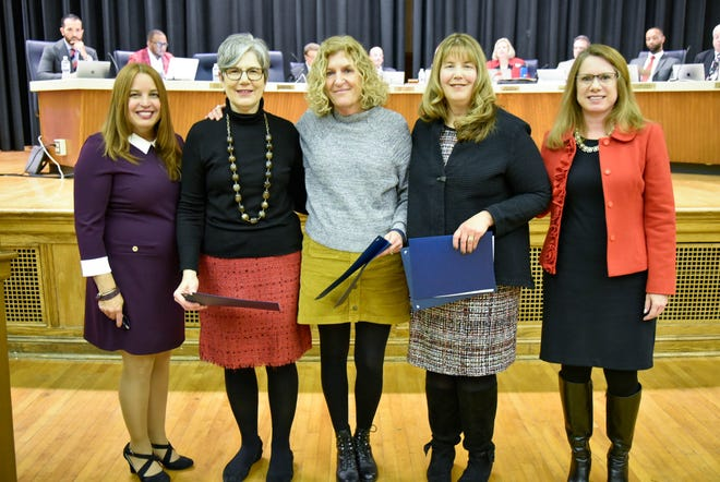 Vineland Public School teachers, Sandy Wells, Mary Angelo-Moi and Sonya Bertini, recently received the New Jersey Department of Education 2019 Exemplary Educator Award. The teachers were also honored by the Vineland Board of Education at a recent meeting. (From left) Inez Acosta, member, Vineland Board of Education; teachers Mary Angelo-Moi, Sonya Bertini and Sandy Wells; and JoAnne Negrin, supervisor English as a Second Language, World Languages, Bilingual Education and Performing Arts for Vineland Public Schools, are pictured at the Board meeting.