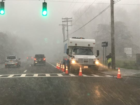 A snow squall hit Westchester Avenue in Harrison about 4 p.m. today.