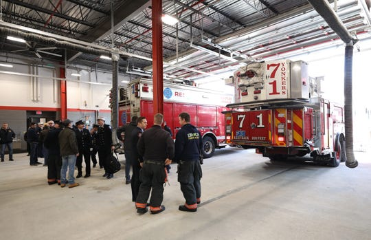 Interior view of the new bays at the firehouse, during a ribbon cutting for the newly constructed Yonkers Fire Station 1, at 25 John Street, Dec. 18, 2019.