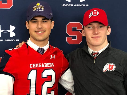 Stepinac's Joey Carino (Albany), pictured left, and Kevin McKenna (Utah) were both honored for their college commitments during a Signing Day ceremony at the school on Dec. 18, 2019.