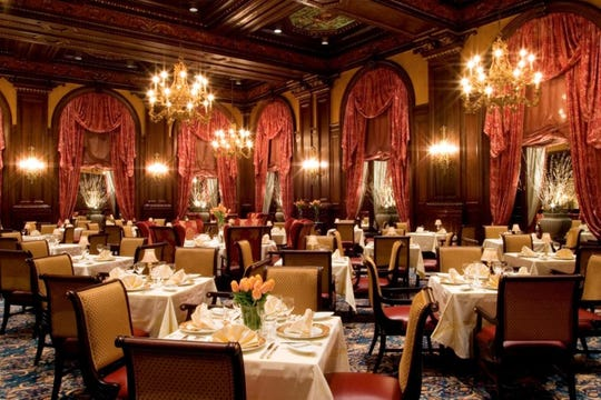 The opulence of the Hotel du Pont's Green Room is unmatched in Delaware.  The room is getting a new name, Le Cavalier at the Green Room, and a makeover, which will be unveiled this spring.
