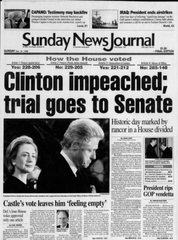 The front page of the News Journal in 1998 after the House voted to impeach President Bill Clinton.