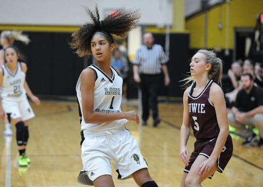 Rider's Jalynn Bristow (1) has starred for the Lady Raiders as a freshman, averaging a double-double and scoring a school-record 42 points in a game earlier this season.
