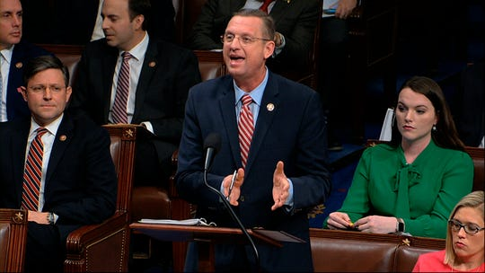 House Judiciary Committee ranking member Rep. Doug Collins, R-Ga., speaks as the House of Representatives debates the articles of impeachment against President Donald Trump at the Capitol in Washington, Wednesday, Dec. 18, 2019. (House Television via AP) ORG XMIT: DCJE137