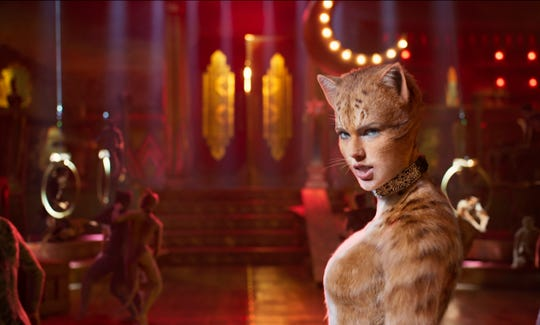 """This image released by Universal Pictures shows Taylor Swift as Bombalurina in a scene from """"Cats."""" (Universal Pictures via AP) ORG XMIT: NYET412"""