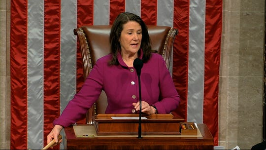 Rep. Diana DeGette, D-Colo., the Speaker Pro Tempore, presides as the House of Representatives begins the day for debates on the articles of impeachment against President Donald Trump at the Capitol in Washington, Dec. 18, 2019.