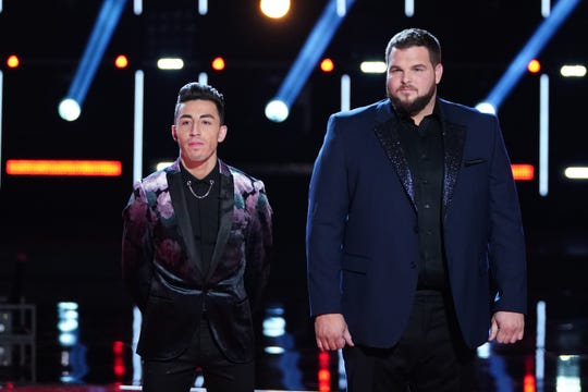 "THE VOICE -- ""Live Finale Results"" Episode 1720B -- Pictured: (l-r) Ricky Duran, Jake Hoot -- (Photo by: Tyler Golden/NBC)"